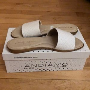 Andiamo White Flats Sandals Made in Italy